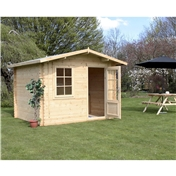 10ft x 8ft (3m x 2.4m) Premier Apex Log Cabin (Double Glazing) Free Floor + Felt (44mm)