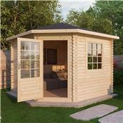 10ft x 10ft (3m x 3m) Premier Corner Log Cabin (Double Glazing) with FREE Felt (34mm)