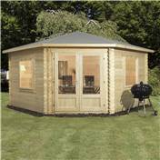 13ft x 13ft (4m x 4m) Premier Corner Log Cabin (Double Glazing) with Large Windows and FREE Felt (28mm)