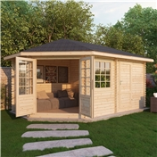 17ft x 10ft (5m x 3m) OHIO PLUS Corner Log Cabin (Single Glazing) with FREE Felt (44mm) **LEFT