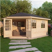 17ft x 10ft (5m x 3m) Premier Apex GRANDE Corner Log Cabin (Single Glazing) with FREE Felt (44mm) - Left Door