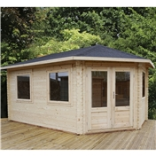 17ft x 10ft (5m x 3m) Premier Apex GRANDE Corner Log Cabin (Double Glazing) with FREE Felt (28mm) - Right Door