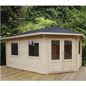 17ft x 10ft (5m x 3m) Premier Apex GRANDE Corner Log Cabin (Single Glazing) with FREE Felt (34mm) - Right Door