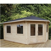 17ft x 10ft (5m x 3m) Premier Apex GRANDE Corner Log Cabin (Double Glazing) with FREE Felt (34mm) - Right Door