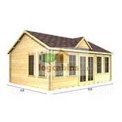 PREMIER 18ft x 13ft (5.5 x 4.0m) CORDON Log Cabin - Double Glazing (70mm Wall Thickness)