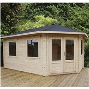 17ft x 10ft (5m x 3m) KANSAS GRANDE Corner Log Cabin (Double Glazing) with FREE Felt (44mm) - Right Door