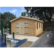 PREMIER 13ft x 16ft (4m x 5m) Garage Log Cabin - Double Glazing (70mm Wall Thickness)