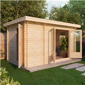 13ft x 8ft (4m x 2.5m) Premier Garden Pent Log Cabin (Double Glazing) with FREE Felt (34mm Tongue and Groove)