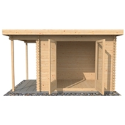 9ft x 8ft (3m x 2.5m) Premier Garden Pent Log Cabin (Double Glazing) with FREE Felt (34mm Tongue and Groove)