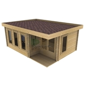 PREMIER 20ft x 16ft (6m x 5m) PRAGUE Log Cabin - Double Glazing (44mm Wall Thickness)