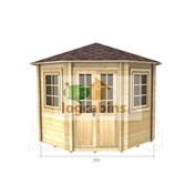 2.5m x 2.5m (8ft x 8ft) Log Cabin (2036) - Double Glazing (44mm Wall Thickness)