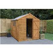 8ft x 6ft (2.43m x 1.91m) Select Overlap Apex Wooden Garden Shed With 2 Windows And Single Door