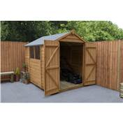 8ft x 6ft (2.42m x 2.03m) Select Overlap Apex Wooden Garden Shed With 2 Windows And Double Doors