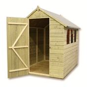 12ft x 5ft Pressure Treated Tongue and Groove Apex Shed With 6 Windows And Single Door