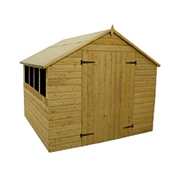 8ft x 8ft Pressure Treated Tongue and Groove Apex Shed with Double Doors + 4 Windows