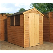 6ft x 4ft Value Overlap Apex Wooden Shed with Single Door + 2 Windows (10mm Solid OSB Floor) - 48HR + SAT Delivery*