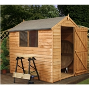 7ft x 5ft Value Overlap Apex Wooden Shed with Single Door + 2 Windows (10mm Solid OSB Floor) - 48HR + SAT Delivery*