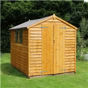 8ft x 6ft Overlap Apex Wooden Garden Shed with Double Doors + 2 Windows (10mm Solid OSB Floor) - 48HR + SAT Delivery*