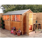 10ft x 6ft Value Overlap Apex Wooden Shed With Double Doors + 4 Windows (10mm Solid OSB Floor) - 48HR + SAT Delivery*
