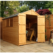 8ft x 6ft Tongue and Groove Apex Wooden Garden Shed With 2 Windows And Double Doors (solid 10mm OSB Floor) - 48HR + SAT Delivery*