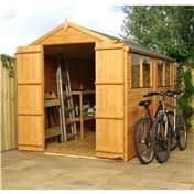 10ft x 6ft Tongue & Groove Apex Shed With Double Doors + 4 Windows (10mm Solid OSB Floor) - 48HR & SAT Delivery*