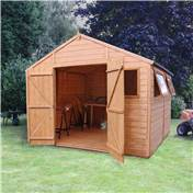 10ft x 10ft Deluxe Tongue & Groove Workshop with Double Doors + 4 Windows (12mm T&G Floor & Roof) - 48HR & SAT Delivery*