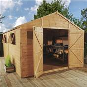 16ft x 10ft Deluxe Tongue and Groove Wooden Garden Workshop with Double Doors + 4 Windows (12mm Tongue and Groove Floor and Roof) - 48HR + SAT Delivery*