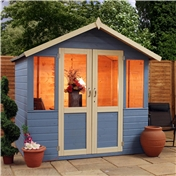 7ft x 5ft Premier Wooden Garden Summerhouse (1/2 Glazed Styrene Doors) (10mm Solid OSB Floor) - 48HR + SAT Delivery*