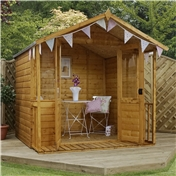 7ft x 7ft Premier Wooden Summerhouse (1/2 Styrene Glazed Doors) (10mm Solid OSB Floor) - 48HR + SAT Delivery*