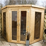 7ft x 7ft Premier Wooden Corner Summerhouse (10mm Solid OSB Floor and Roof) - 48HR + SAT Delivery*