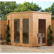 8ft x 8ft Premier Wooden Corner Summerhouse (10mm Solid OSB Floor + Roof) - 48HR + SAT Delivery*