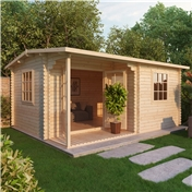 20ft x 16ft (6m x 5m) CHESTNUT Log Cabin (Double Glazing) with FREE Floor + Felt (44mm)