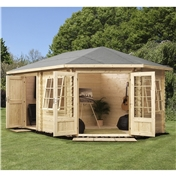 17ft x 10ft (5m x 3m) Premier PLUS Corner Log Cabin (Single Glazing) with FREE Felt (28mm) **RIGHT