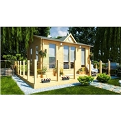 PREMIER 16ft x 13ft (5m x 4m) ZERMATT Log Cabin - Base Price for 34mm Wall Thickness