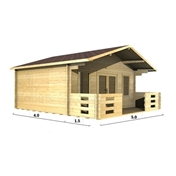 PREMIER 16ft x 13ft (5m x 4m) MONACO Log Cabin - Double Glazing (34mm Wall Thickness)