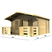PREMIER 13ft x 10ft (4m x 3m) AURON Log Cabin - Base Price for 34mm Wall Thickness