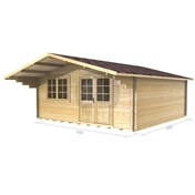 PREMIER 16ft x 16ft (5m x 5m) CHAMONIX Log Cabin - Double Glazing (34mm Wall Thickness)