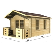 PREMIER 10ft x 13ft (3m x 4m) VALDISERE Log Cabin - Base Price for 34mm Wall Thickness