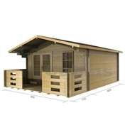 PREMIER 13ft x 13ft (4m x 4m) RIO Log Cabin - Double Glazing (34mm Wall Thickness)