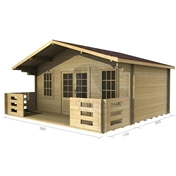 PREMIER 16ft x 10ft (5m x 3m) MERIBEL Log Cabin - Base Price for 34mm Wall Thickness