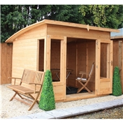 8ft x 8ft Premier Curved Pent Wooden Garden Summerhouse (12mm Tongue and Groove Floor) - 48HR + SAT Delivery*