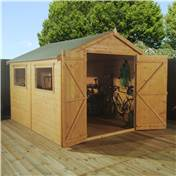 10ft x 8ft Deluxe Wooden Workshop with Double Doors + 2 Windows (12mm T+G Floor and Roof) - 48HR + SAT Delivery*