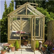 6ft x 6ft Cambridge Wooden Pressure Treated Greenhouse