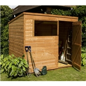 8ft x 6ft Tongue and Groove Wooden Garden Pent Shed with Single Door + 1 Window (Solid 10mm OSB Floor) - 48HR + SAT Delivery*