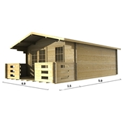 PREMIER 13ft x 16ft (4m x 5m) VALLOIRE Log Cabin - Double Glazing (34mm Wall Thickness)