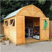 10ft x 8ft Deluxe Tongue and Groove Dutch Style Barn With 2 Windows And Double Doors (12mm Tongue and Groove Floor and Roof) - 48HR + SAT Delivery*