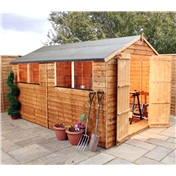 10ft x 8ft Super Saver Overlap Apex Shed With Double Doors (10mm Solid OSB Floor) - 48HR & SAT Delivery*