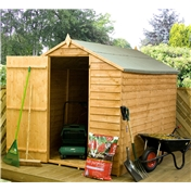 8FT x 6FT VALUE WOODEN OVERLAP APEX GARDEN SHED WINDOWLESS WITH SINGLE DOOR (Solid 10mm OSB Floor) - 48HR + SAT Delivery*
