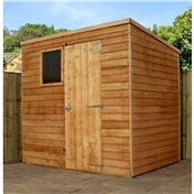 7ft x 5ft Value Wooden Overlap Pent Garden Shed with Single Door + 1 Window (10mm Solid OSB Floor) - 48HR + SAT Delivery*