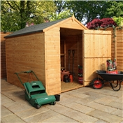 8ft x 6ft Tongue and Groove Wooden Apex Windowless Shed with a Single Door (Solid 10mm OSB Floor) - 48HR + SAT Delivery*
